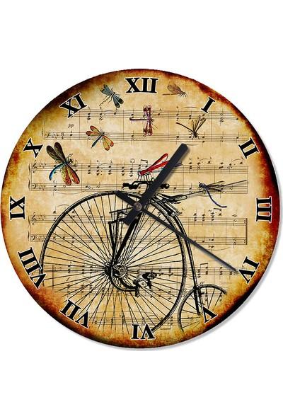 Tablomega Yusufçuk Ve Retro Bisiklet Desenli Duvar Saati 30 X 30 Cm
