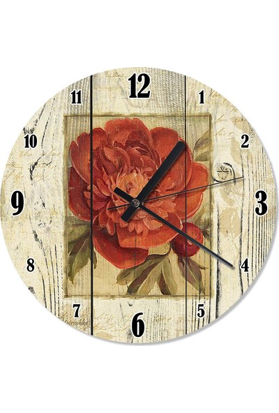 Tablomega Kırmızı Gül Sessiz Duvar Saati 30 X 30 Cm
