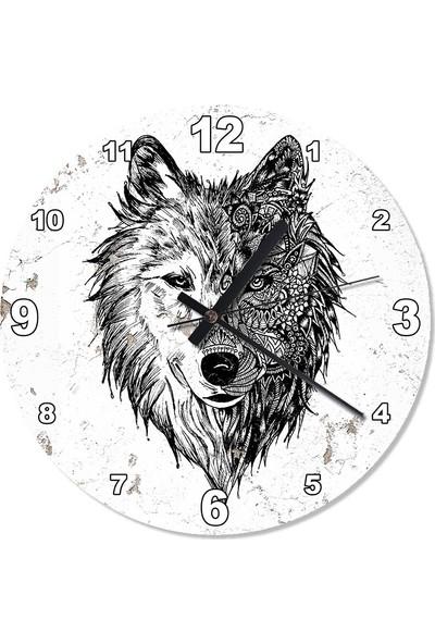Tablomega Desenli Kurt Akarlı Duvar Saati 50 X 50 Cm
