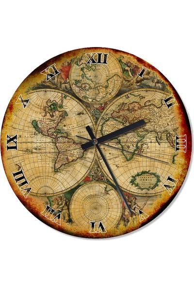 Tablomega Dünya Haritası Özel Tasarım Duvar Saati 50 X 50 Cm