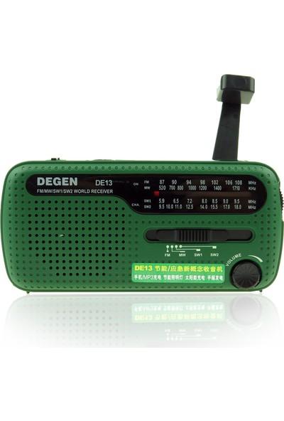 DEGEN DE-13 Solar Radyo Krank Dinamo FM MW SW1 SW2