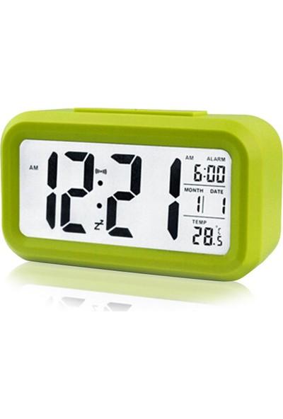 Diwu Optik Masaüstü Saat Takvim Termometre Yeşil