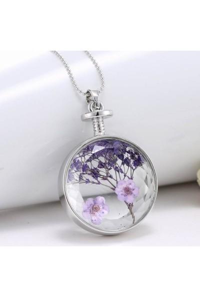 Chavin Yaşayan Kristal Cam Kurutulmuş Çiçek Bayan Kolye Dr36