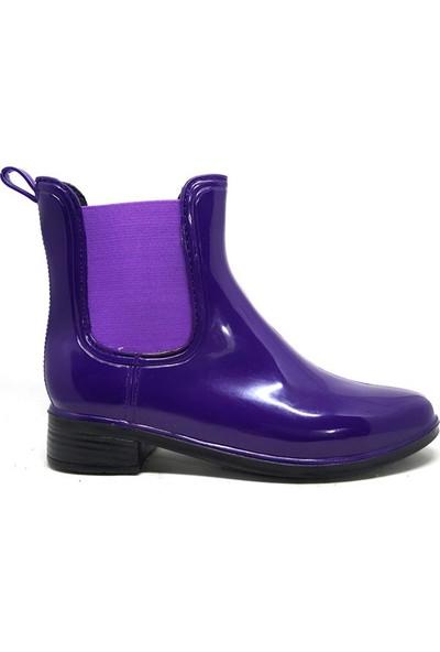 Shop And Shoes 062-035 Kadın Yağmur Botu Mor
