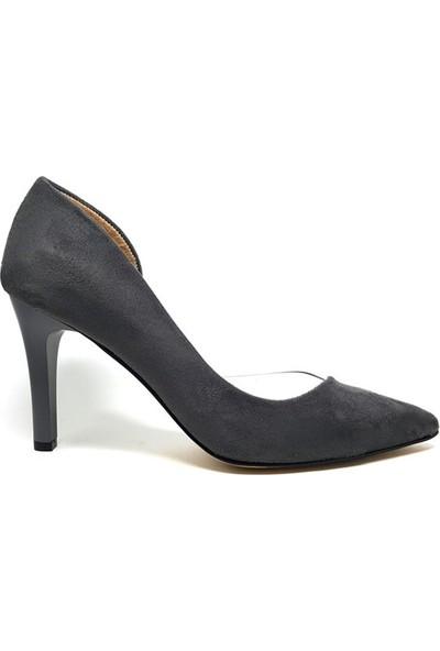 Shop And Shoes 194-85 Kadın Stiletto Gri Süet