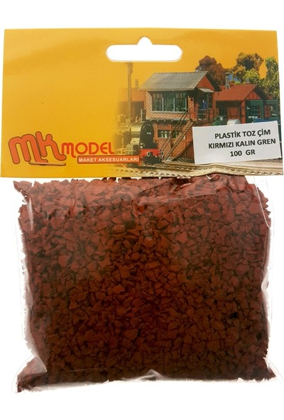 Mk Model Plastik Toz Çim Kırmızı Kalın Grenli 100Gr.