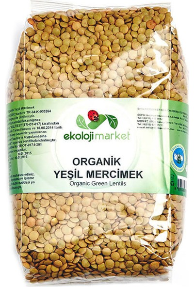 Ekoloji Market Organik Yeşil Mercimek 1 Kg