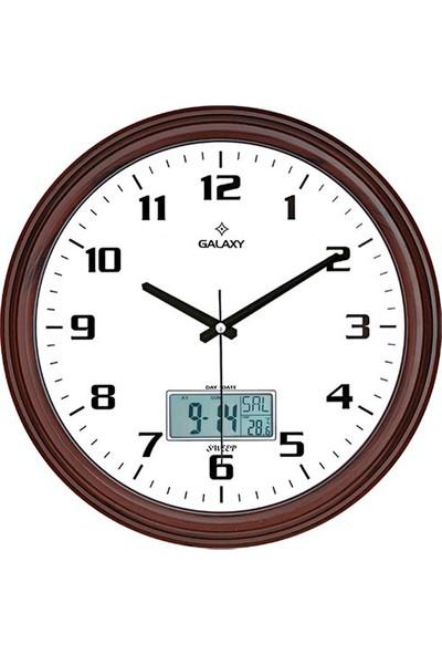 Galaxy T-97-F Dijital Termometre Takvim 35Cm Duvar Saati