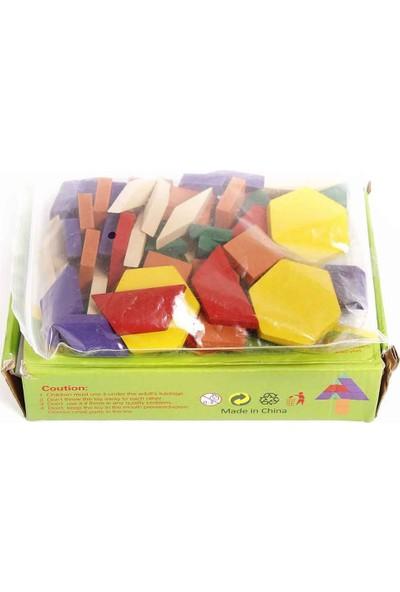 Montessori Ahşap Oyuncak 60 Parça Ahşap Tangram