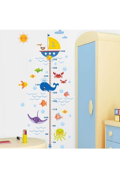 Zooyoo Gelişim Boy Ölçer Sevimli Okyanus Balıkları Kayıp Balık Memo Çocuk Odası Ev Duvar Sticker
