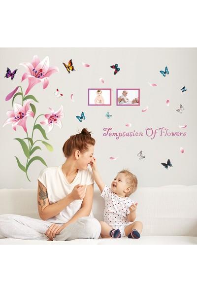 Zooyoo Özel Lilyum Çiçeği Fotoğraflık 3D Kelebekler Renkli Ev Dekor Duvar Sticker