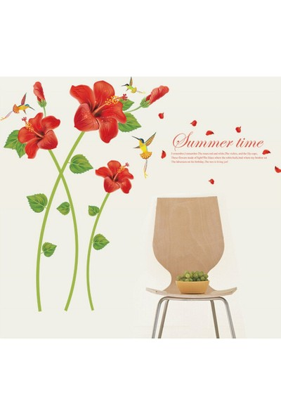 Zooyoo Romantik Kırmızı Laleler Ev Dekor Duvar Sticker