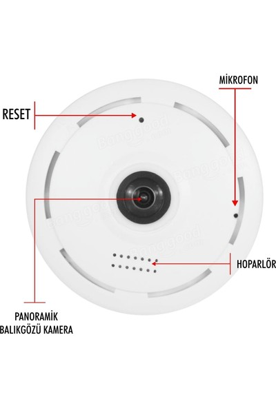 Taipien As-3601 Panoramik Tavan Kamerası 1080P, 360/180˚ P2P, Kayıt, Alarm, Wıfı, Kamera
