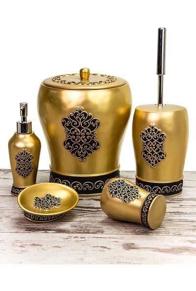 Mukko Home Polyester 5 Parça Banyo Seti - Saray Altın