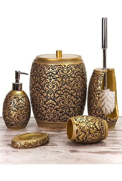 Mukko Home Polyester 5 Parça Banyo Seti - Selçuklu Altın