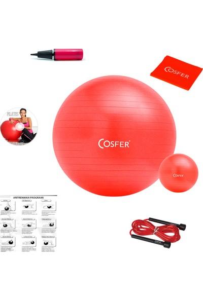 Cosfer 7 Parçalı New Design Kırmızı Pilates Seti