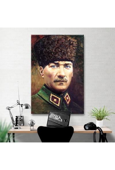 Plustablo Renkli Atatürk Portresi Reprodüksiyon Yağlı Boya Kanvas Tablo 70x105 cm.