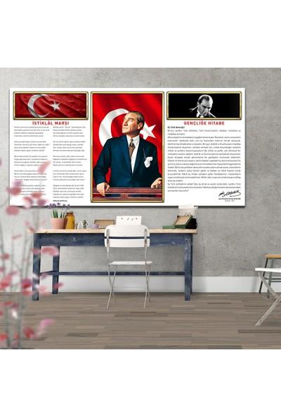 Plustablo Atatürk Panosu Özel Tasarım Panoramik Kanvas Tablo 30x60 cm.