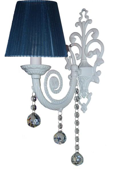 Merve Abajur /Bianco Serisi Gece Mavisi Başlıklar Döküm Beyaz Duvar Aplik