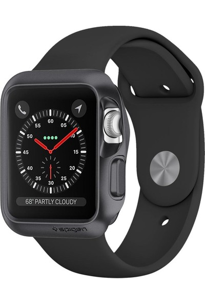 Spigen Apple Watch Seri 3/2/1 (42mm) Kılıf Slim Armor Space Gray - 059CS22563