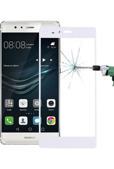 Case 4U Huawei P9 Plus Full Kaplama Cam Ekran Koruyucu Beyaz*