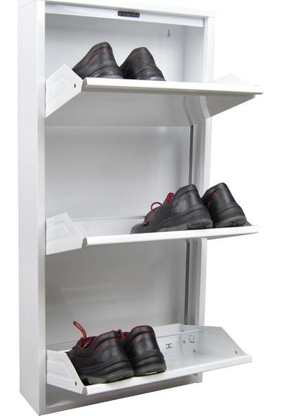 Gadahome 3'lü Metal Ayakkabılık Beyaz