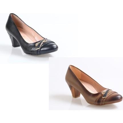 Nehir Feta Siyah Topuklu Kadın Ayakkabı
