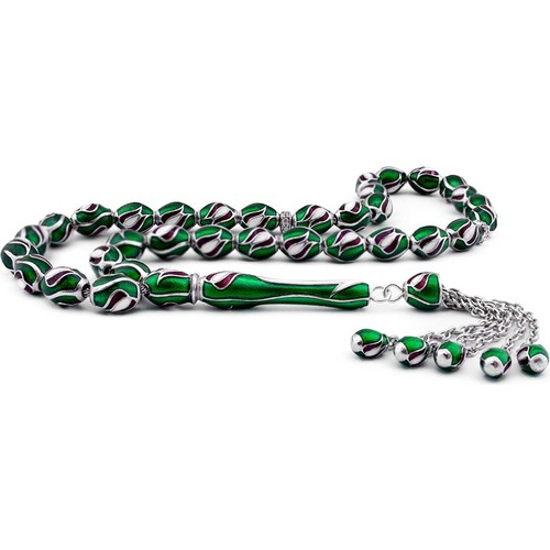 Tesbihane Lale Tasarım Yeşil Mineli Gümüş Tesbih