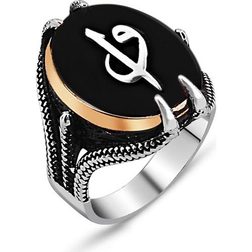 Tesbihane 925 Ayar Gümüş Pençeli Elif Vav Model Oniks Taşlı Yüzük
