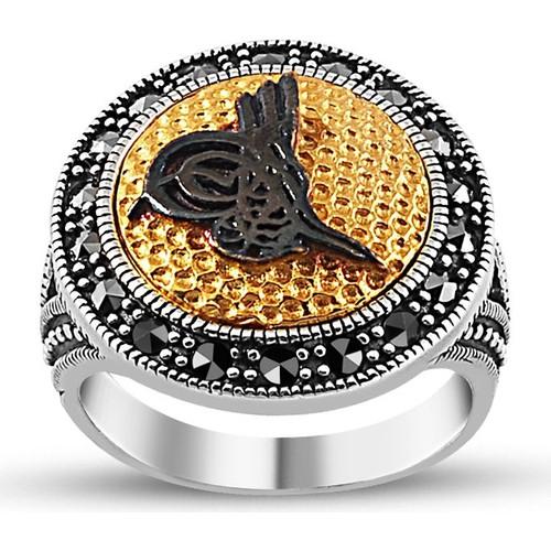 Tesbihane 925 Ayar Gümüş Tuğra İşlemeli Bayan Yüzük