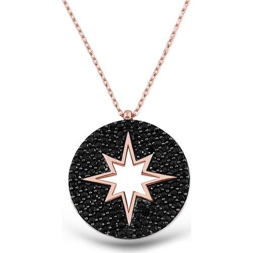 Tesbihane Gümüş Siyah Kutup Yıldızı Kolye