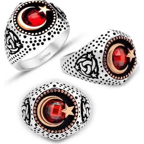 Tesbihane Kızıl Elma - Gümüş Ayyıldız Zirkon Taşlı Teşkilat-ı Mahsusa Yüzük