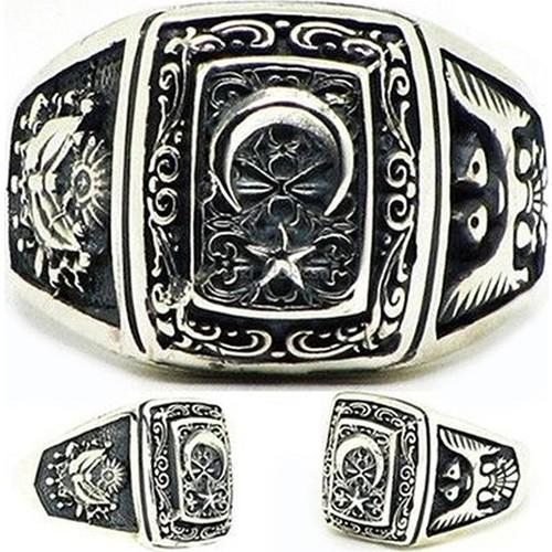 Tesbihane 925 Ayar Gümüş Ayyıldız-Osmanlı Arması-Selçuklu Kartalı Yüzük