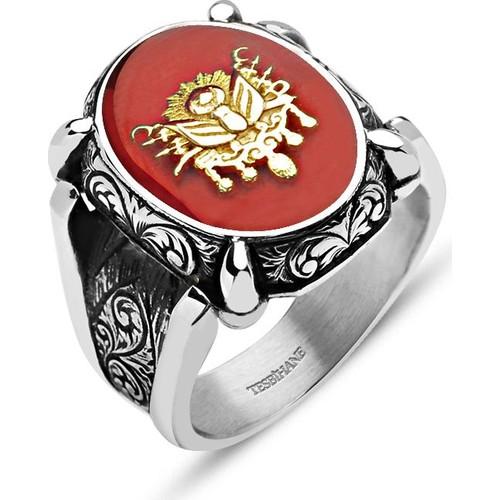 Tesbihane Kırmızı Mine Üzerine Osmanlı Tuğralı 925 Ayar Gümüş Oval Yüzük