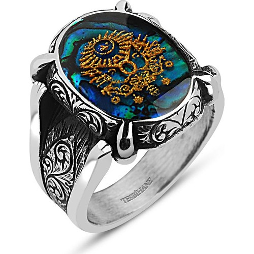 Tesbihane 925 Ayar Gümüş Altın Varaklı Osmanlı Armalı Yüzük