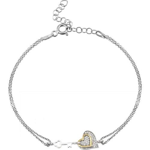Tesbihane 925 Ayar Gümüş Zirkon Taşlı Kalbimin Anahtarı Bileklik