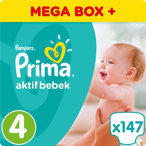 Prima Bebek Bezi Aktif Bebek 4 Beden Maxi Mega Box Plus Paket 147 Adet