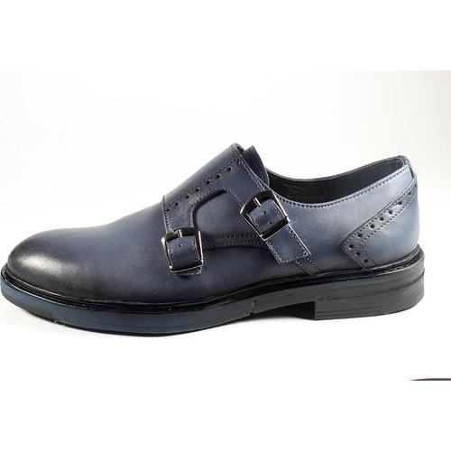 Pablo 217-217 Mavi Antik Tokalı Erkek Ayakkabı