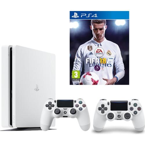 Sony Ps4 Slim 500 Gb Oyun Konsolu Beyaz + 2. Ps4 Kol + Fifa 18 (İthalatçı Garantili)