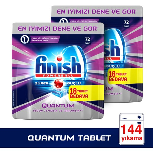 Finish Powerball Quantum Bulaşık Makinesi Deterjanı 144 Tablet (72x2)