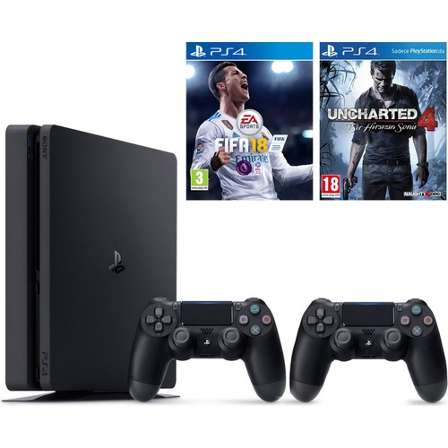 Sony Ps4 Slim 500Gb Oyun Konsolu + Ps4 2. Kol + Fifa 18 + Uncharted 4 ( İthalatçı Garantili )