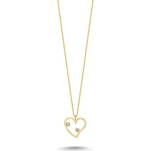 Koçak Gold 14 Ayar Taşlı Kalp Altın Kolye