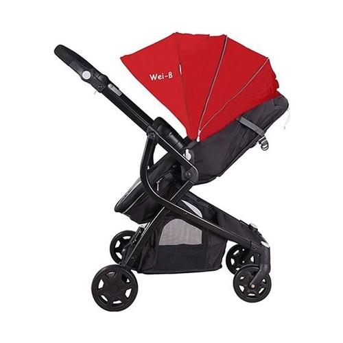 Wei-B Resistens Trio Seyahat Sistem Bebek Arabası / Siyah-Kırmızı