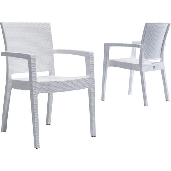 Novussi Garden Paris Rattan Sandalye -Beyaz