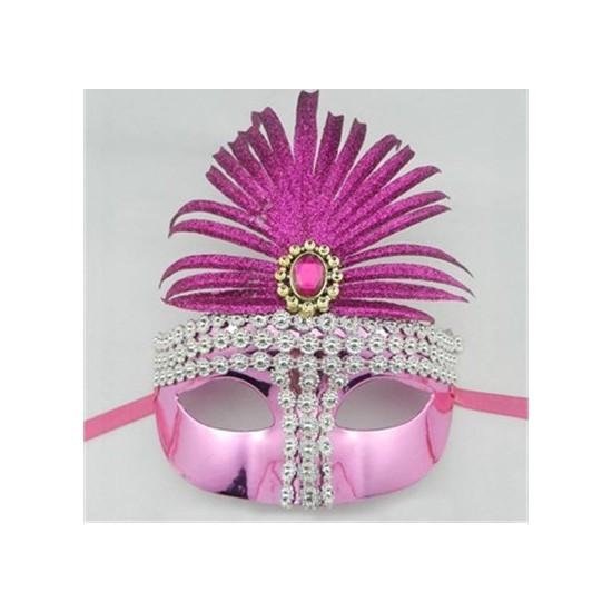 Fonnava Taşlı Tüylü Parti Maskesi Fuşya Renk