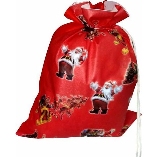 Kostümce Baskılı Noel Baba Hediye Dağıtım Çuvalı 45x55