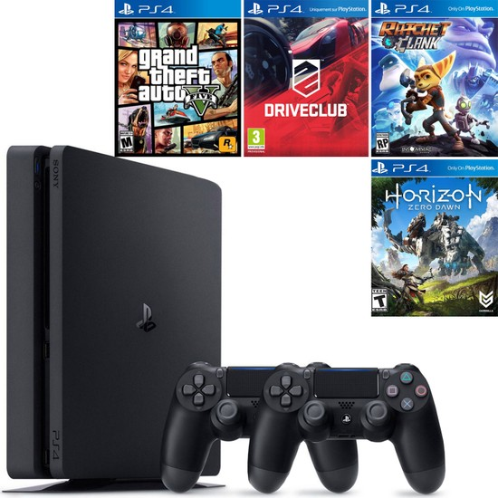 Sony Playstation 4 Slim 500 GB Konsol + 2. Ps4 Kol + Gta 5 + Driveclub + Ratchet and Clank + Horizon Zero Dawn