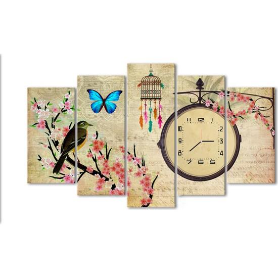 Dementia Art Vintage 5 Parça Saatli Kanvas Tablo