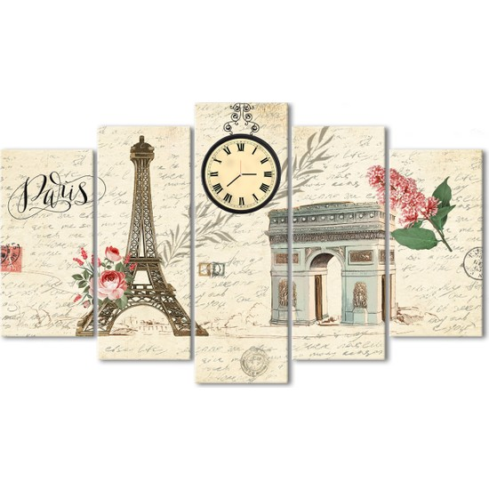 Özverler Paris 5 Parça Saatli Kanvas Tablo