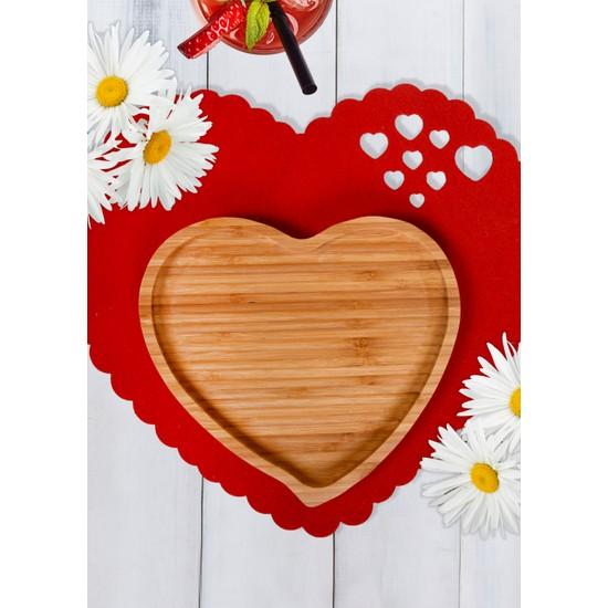 Keramika 1 Adet Bambu Orta Boy Kalp Tepsi